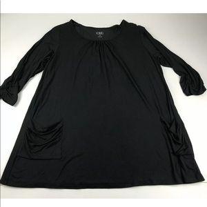 Logo Lori Goldstein 1X Black 3/4 Sleeve Knit Top